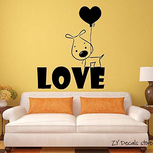 Puppy hondje muur sticker ballon romantisch cadeau vinyl muur verwijderbare kunst muurschildering huisdecoratie hond behang <> 58x70cm