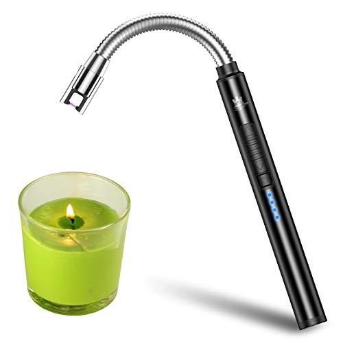 WestRiver accendino per candele, accendino elettrico ricaricabile USB con blocco di sicurezza, accendini al plasma senza fiamma e senza vento con lungo collo flessibile (Elegante nero)
