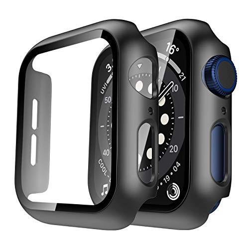 TAURI 2 Stück Hülle Mit Panzerglas Bildschirmschutz Kompatibel Mit Apple Watch 42mm Series 3 2 1 360° R&um Schutzhülle Superdünne PC Hardcase Kompatibel Mit iWatch 42mm