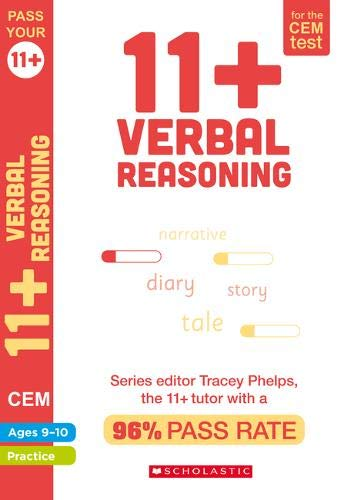 11+ Verbal Reasoning Practice and Assessment for the CEM Test Ages 09-10 including: cloze, spelling, vocabulary, synonyms and more. By Tracey Phelps the tutor with a 96% pass rate (Pass your 11+)