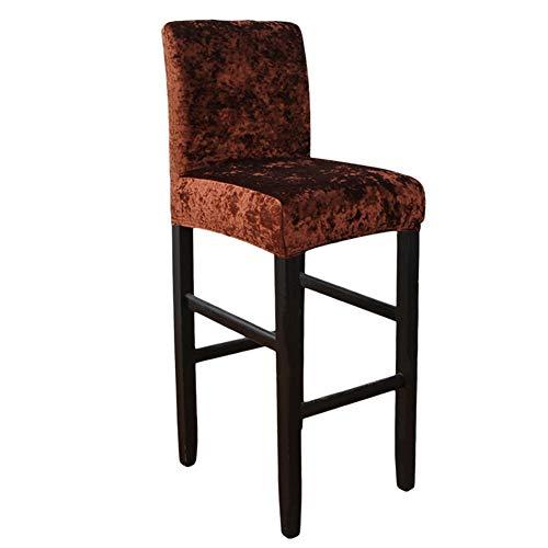Fundas elásticas para taburetes de bar con respaldo, fundas para sillas de comedor de terciopelo aplastado, fundas para sillas de comedor giratorias cortas (marrón oscuro, juego de 4)