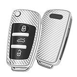 OATSBASF Autoschlüssel Hülle Geeignet für Audi,Schlüsselhülle Cover für A1 A3 A4 A6 Q3 Q5 Q7 S3 R8 TT Seat 3-Tasten Schlüsselbox (Silber-Streifen)