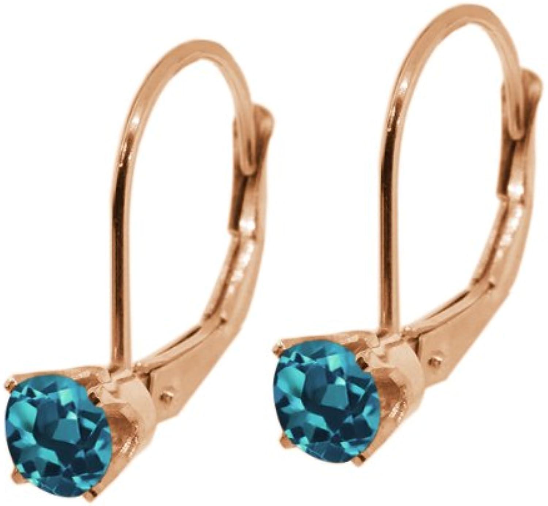 0.40 Ct Round London bluee Topaz 14K White gold Earrings