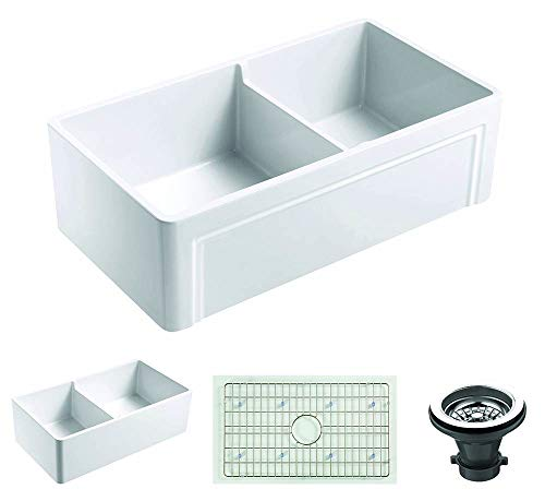 Empire Industries OL33DG Farmhouse Fireclay Double Bowl Kitchen Sink with Grid and Strainer, 33