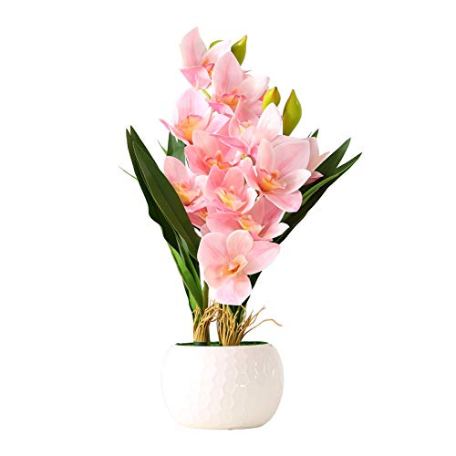 ENCOFT Flores Artificiales Plástico Flor de Phalaenopsis Realista Orquídea Mariposa con Maceta Imitación Cerámica Decoración (Rosado, 45cm)