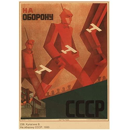 APAZSH Cuadros Decoracion Poster Vintage de la Segunda Guerra Mundial Propaganda política leninista Unión Soviética URSS Poster CCCP Poster Retro Decorativo para pared60x90cm x1 Sin Marco