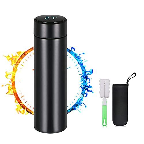 Tumeiguan thermoskanne, flaschenwärmer baby unterwegs, LED-Touchscreen-Temperaturanzeige thermoskanne 0,5l, thermosflasche, Smart Becher Dichtflasche Ideal für Hitze und Kälte termosflaschen