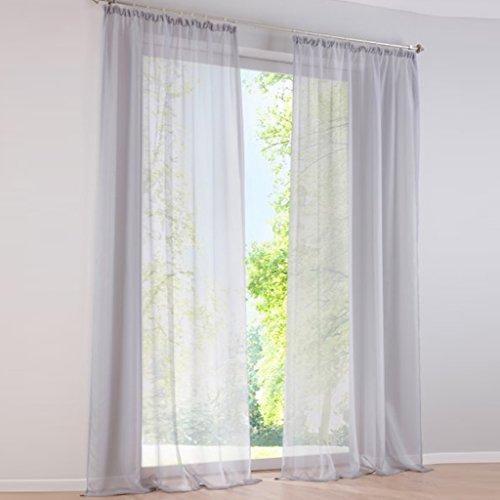 HongYa 1er-Pack Uni Gardine Transparenter Voile Schal Vorhang mit Kräuselband H/B 225/145 cm Silber