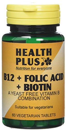 Health Plus B12 + Folic Acid + Biotin Vitamin B Supplement - 60 Tablets