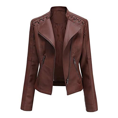 YYNUDA Veste Femme de Motard Vintage Blouson en Cuir PU Veste Moto Marron L