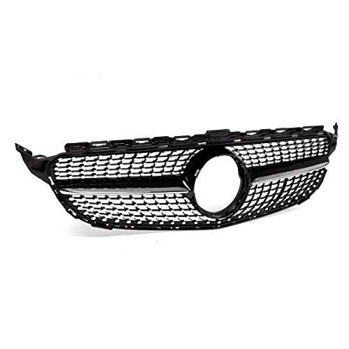 HCHD Diamond Style W205 Car Front Grill Grille Mesh For Mercedes For Benz C Class W205 C200 C250 C300 C350 2015-18 Without Camera (Color : Black)