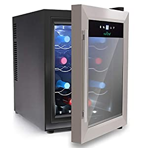 NutriChef 12 Bottle Thermoelectric Wine Cooler / Chiller | Counter Top...