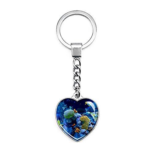 USA Amerika Gatlinburg Ripley's Aquarium of The Smokies Schlüsselanhänger Kreativ Doppelseitiger Herzförmiger Kristall Schlüsselanhänger Reise Souvenir Metall