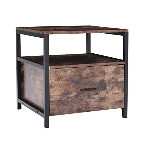 Warmiehomy Bedside Table, Industrial Nightstand With Metal Frame, Side End Table with Drawer and Open Compartment for Bedroom Living Room, Rustic Brown, 55 x 51 x 56cm