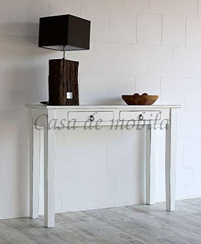 Casa Massivkolz Telefontisch weiß antik Konsolentisch Beistelltisch Vintage Guéridon Shabby-Chic mit 2 Schubladen