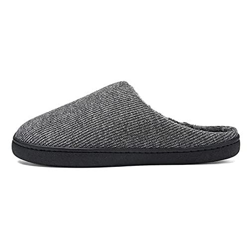 NUGKPRT chanclas,Zapatos de algodón Zapatillas de felpa para interior de invierno para hombre Cómodas suaves antideslizantes Planas Cálidas para el hogar 38-39 gris