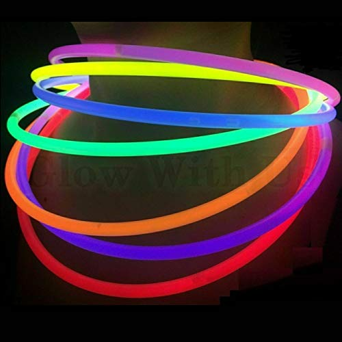 Glow Sticks Bulk Wholesale Necklaces, 100 22' Glow Stick Necklaces+100 FREE Glow Bracelets! Bright Colors Glow 8-12 Hr, Connector Pre-attached(handy), Glow-in-the-dark Party Supplies, GlowWithUs Brand