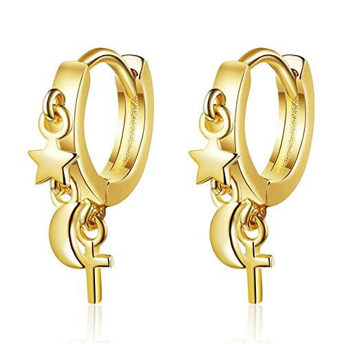 Pendientes De Anzuelo Fashion 925 Pendientes Femeninas De Plata Star Moon Pendientes De Cruz Retro-D