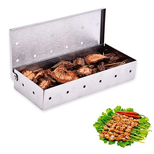 THETAG Caja para ahumar, caja para ahumar, de acero inoxidable, accesorios de barbacoa de alta calidad, extra larga, para todas las barbacoas de gas y de carbón vegetal