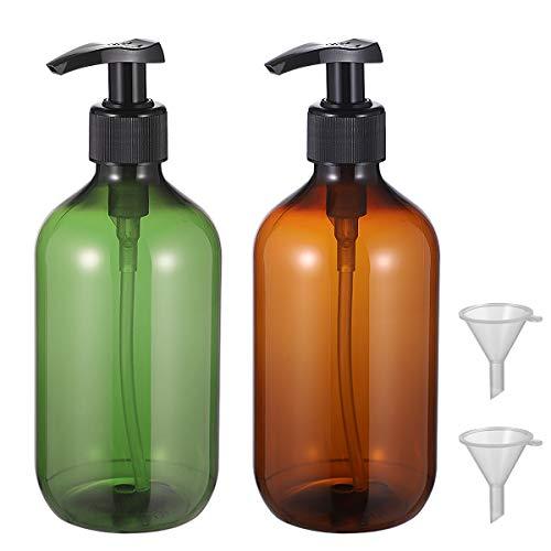 TOPBATHY 2 botellas vacías de 500 ml de champú opaco, versátil, botella de bomba sin goteo, dispensador de jabón de manos con 2 embudo (verde+marrón)