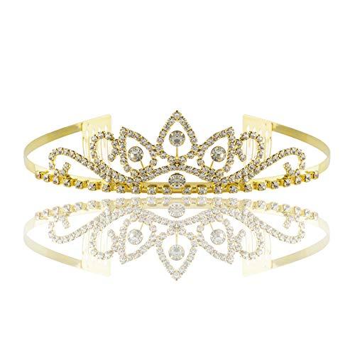 RIVERTREE Gold Kostüm Prinzessin Crown Stirnband Mit Kammstift Für Mädchen & Frauen Strass Kristall Braut Hochzeit Tiara