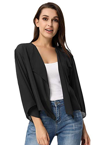 Damen Basic Summer Shrug 3/4 Arm Front Open Strickjacke Bolero Mäntel Schwarz XXL