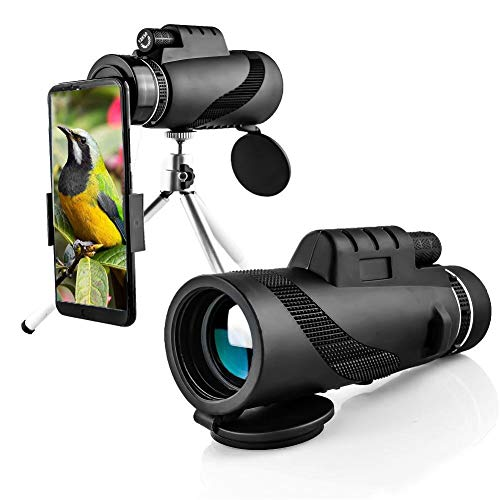 Topiky Telescopio monocular 40x60 HD, portátil Impermeable al Aire Libre BAK4 Óptico telescopio único monocular para observación de Aves, Camping, Viajes