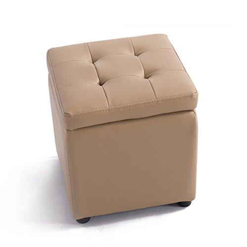 Tabouret de rangement en bois carré PVC chaussures selles selles quai canapé banc (Color : Blanc, Size : 40 * 40 * 40cm)