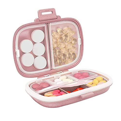 Daily Pill Organizer, 8 Compartments Portable Pill...