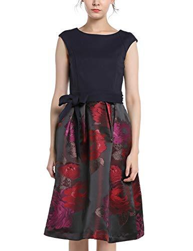 APART Elegantes Damen Kleid, Cocktailkleid, Materialmix, Jersey und glänzender Jacquard, ärmellos, leicht überschnittene Schulter, Bindegürtel