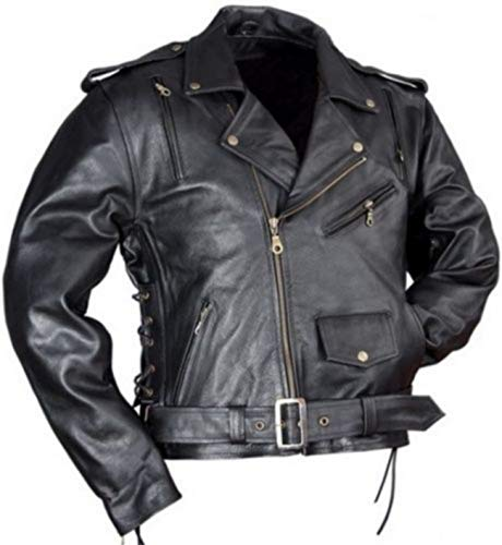 Lederjacke Leder Jacke für Biker Chopper Mottoradjacke Motorrad Rocker Punk - 2