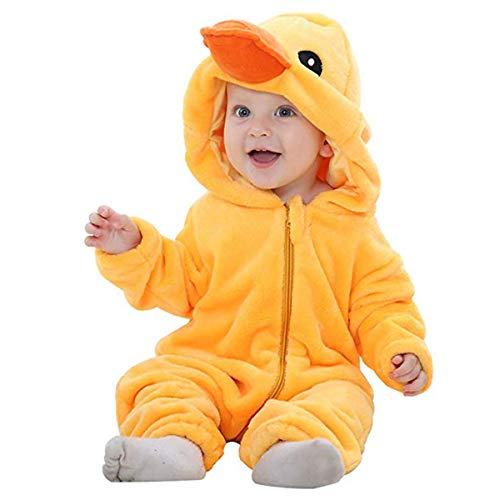 Doladola Unisex Baby Kleinkinder Strampler Overall mit Kapuze Cartoon Schlafanzüge (Gelbe Ente, Größe 80 Alter 6-12 Monate)