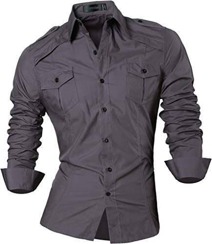 jeansian Men's Slim Fit Long Sleeves Casual Button Down Dress Shirts 8397 3