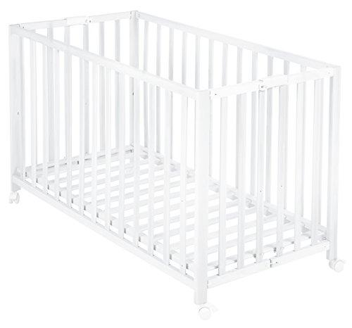 roba Lit pliant 'Fold Up', 60x120cm, lit bébé à barreaux laqué en blanc, réglable sur 3 hauteurs, avec roulettes.