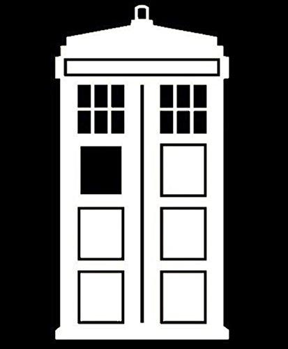 UR Impressions URI141 Calcomanía de vinilo con diseño de Tardis de Doctor Who para coches, camiones, SUV, furgonetas, paredes, ventanas, ordenadores portátiles, color blanco