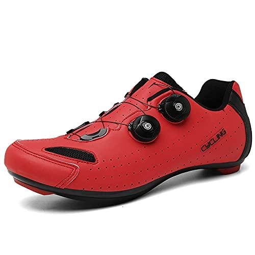 KUXUAN Zapatillas de Ciclismo Hombre Mujer Zapatillas de Bicicleta Peloton Zapatillas con Hebilla Delta Compatible para Carreras de Equitación en Interiores,Red-6UK=(245mm)=39EU