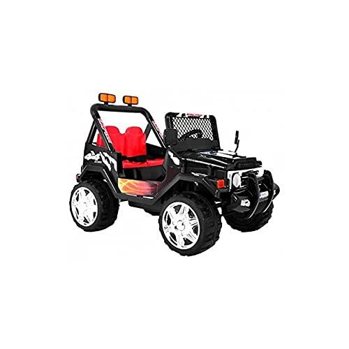 Todo Terreno Estilo Jeep 4x4 12v - Negro- Coche eléctrico para niños Dos plazas con Mando para Padres