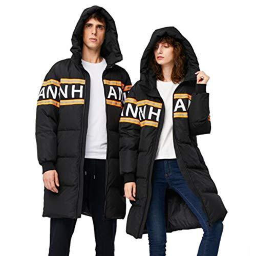 Winter donsjack, lange sectie van dikke capuchon paar modellen camouflage jas, Unisex, 1PC (Color : Black, Size : S)
