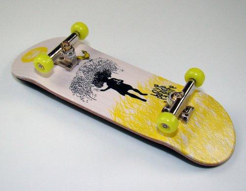 """KOMPLETT Fingerskateboard World-Creative #5 \""""Love, Peace & Nature Deck + Achsen Silber + FINAL-Rotation PU Wheels GELB von FREEFINGERS® Handmade Wood Fingerboard"""
