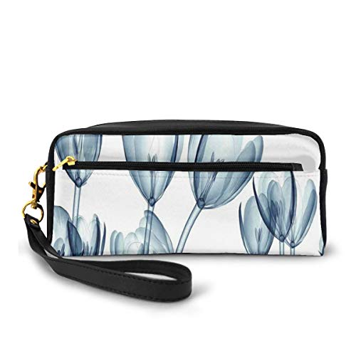 Pencil Case Pen Bag Pouch Stationary,Bunch of Different Size Flowers with X-Rays Complex Structures of Mother Nature Art,Small Makeup Bag Coin Purse