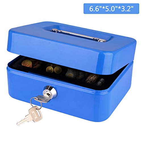 Cash Box, LeHatori Large Money Safe Key Lock Box with Money Tray Portable Metal Cash Registers Security Storage Bill Coin Container with Carry Handle (6 Inch)