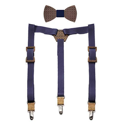 Conjunto pajarita de madera y tirantes Snow. Colección de moda hombre: Fabricado...