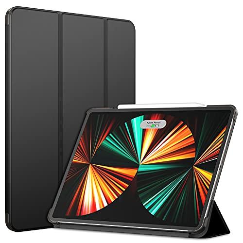 JETech Hülle Kompatibel mit iPad Pro 12,9 Zoll (5. Generation, Modell 2021), Intelligent Schutzhülle mit Auto Schlafen/Wachen, Schwarz
