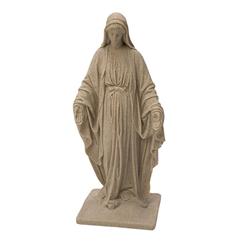 Emsco Group Virgin Mary Statue - Natural Sandstone Appearance - Made of Resin - Lightweight - 34' Height