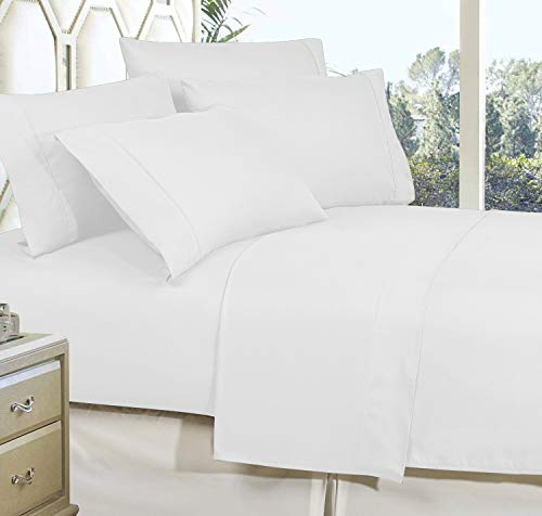 Celine Linen Best, Softest, Coziest Bed Sheets Ever! 1800 Thread Count Egyptian Quality Wrinkle-Resistant 4-Piece Sheet Set with Deep Pockets 100% , Full White