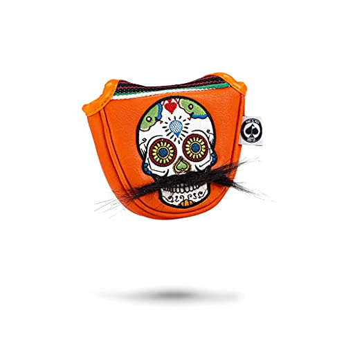 Pins & Aces LE Sugar Skull Mustache Mallet Putter Head Cover - Premium, Hand-Made Leather Putter Headcover - Funny, Tour Quality Golf Club Cover - Style and Customize Your Golf Bag (Orange)