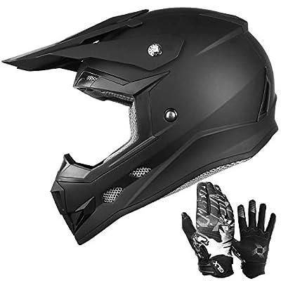 GLX Unisex-Child GX623 DOT Kids Youth ATV Off-Road Dirt Bike Motocross Helmet with Free Gloves for Boys & Girls (Matte Black, Medium)
