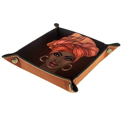 rodde Bandeja de Valet Cuero para Hombres - Mujeres africanas étnicas Tribales - Caja de Almacenamiento Escritorio o Aparador Organizador,Captura para Llaves,Teléfono,Billetera,Moneda