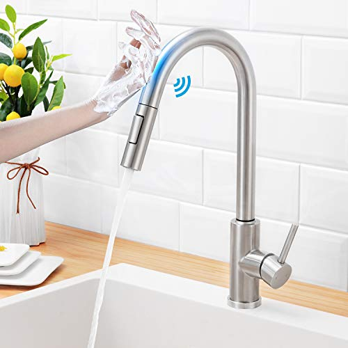 HGN Touch On Kitchen Faucets with Pull Down Sprayer,Sensor Faucets for Kitchen Sinks,Single Hole Single Handle Touch Activated Faucet ,304 Stainless Steel , Brushed Nickel,Without Deck Plate