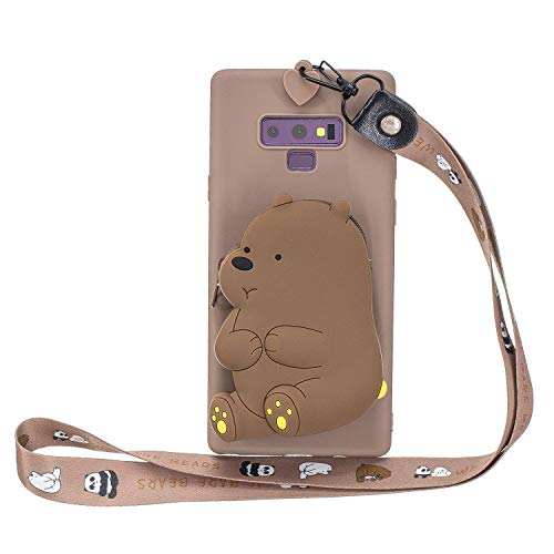 Miagon Silikon Hülle für Samsung Galaxy Note 9,3D Süß Brieftasche Lager Tasche Design mit Halskette Kordel Schnur Handykette Necklace Band,Braun Bär